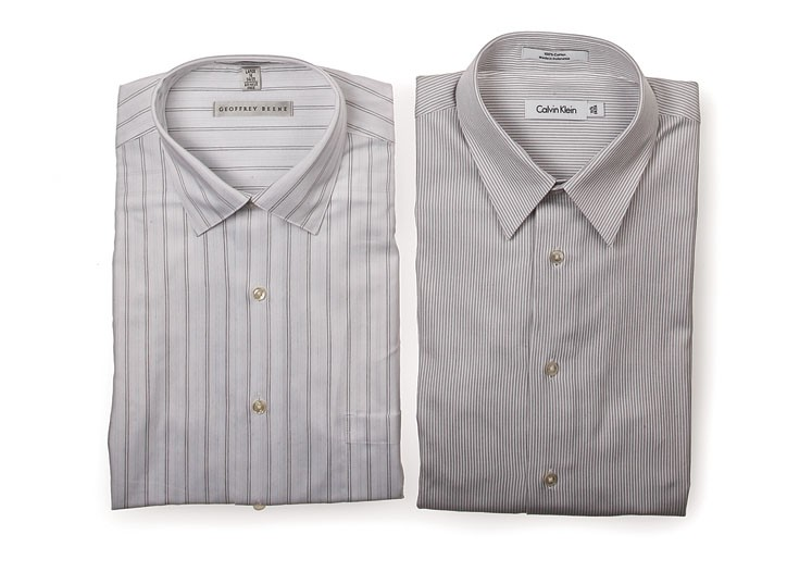 White and simply patterned shirts from Geoffrey Beene and Calvin Klein.
