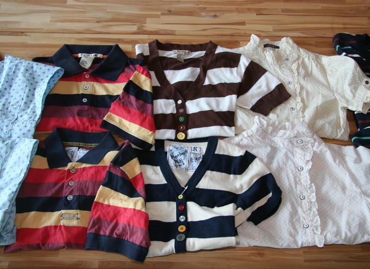 Forever 21 shirts are top row, and Trovata shirts are bottom row.
