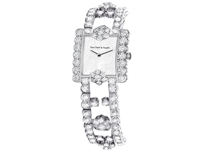 A platinum, mother-of-pearl and diamond watch by Van Cleef & Arpels.
