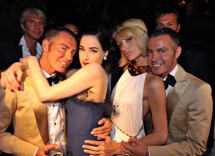 Dan Caten, Dita Von Teese, Paris Hilton, and Dean Caten.
