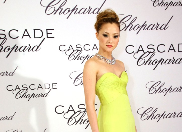 Devon Aoki in Roberto Cavalli and Chopard Red Carpet necklace.