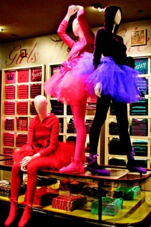 Juicy Couture items on display.
