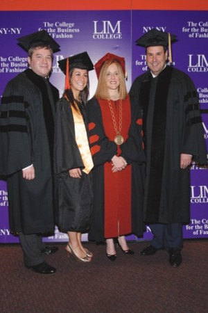 Jonathan L. Bing, valedictorian Jessica Morganstern, LIM president Elizabeth S. Marcuse and Stephen I. Sadove.