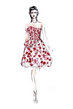 Oscar de la Renta's sketch of the bubble-hemmed dress.