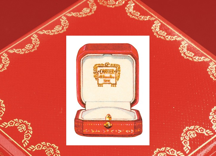 The red leather box. Inset: An earlier incarnation.