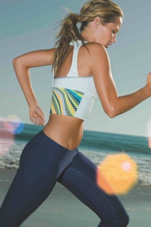 Snowboarder Lisa Sheldon in the new ad campaign for Roxy Athletix.