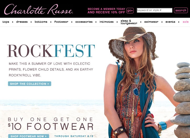 Charlotte Russe's home page.