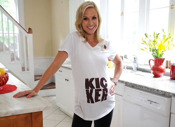 Elisabeth Hasselbeck in a T-shirt from Reebok's maternity NFL line.