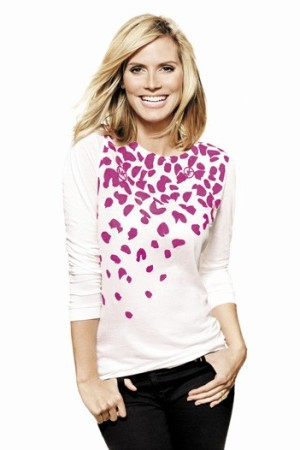 Heidi Klum, in the T-shirt designed by Michael Kors.