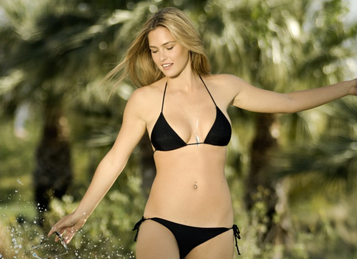 Bar Refaeli wearing her black bikini.