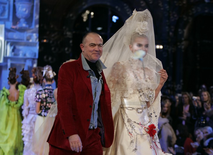 Christian Lacroix on the couture runway.