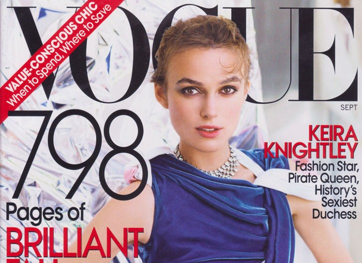 Keira Knightley for Vogue was one of the best-selling magazine covers of 2008.