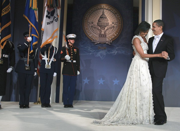 Michelle Obama in Jason Wu, with her husband, President Obama.