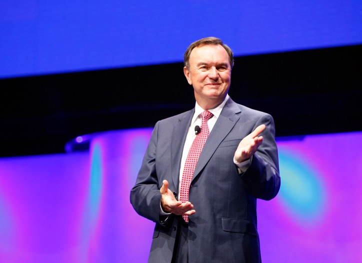 Mike Duke speaking at Wal-Mart's Shareholders' Meeting.