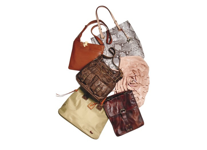 Clockwise from top: Radley London bag in leather, Michael Michael Kors in python-embossed leather, Big Buddha in PVC, Fossil in leather, Dooney & Bourke in nylon, Bueno in leather.