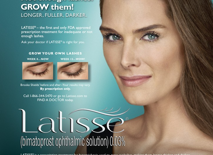 A print ad for Latisse featuring Brooke Shields.