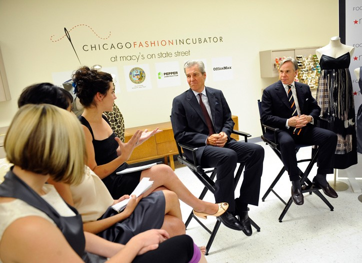 Terry Lundgren and Tommy Hilfiger met with designers in Chicago Tuesday.