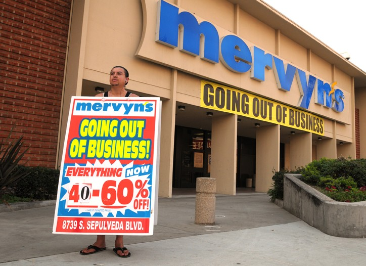 Mervyns going out of business.