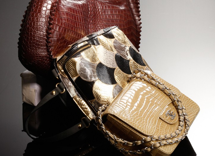 From top: Bottega Veneta's hobo in crocodile, Sang A's purse in water snake and Chanel's purse in alligator.