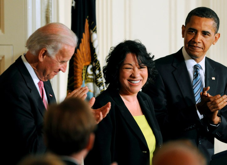 Judge Sonia Sotomayor at the White House with President Obama and Vice President Biden.