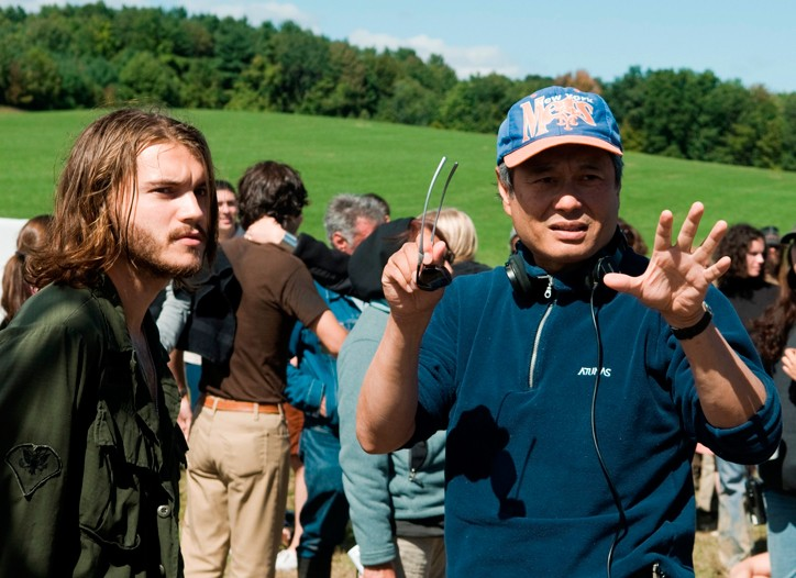 """Ang Lee directing Emile Hirsch in """"Taking Woodstock."""""""