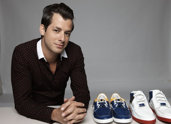 Mark Ronson with his Gucci Ronson sneaker designs.