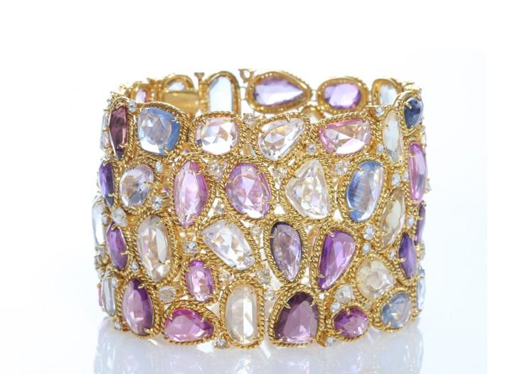 NSR Nina Runsdorf multi-colored sapphire slice cuff with diamonds.