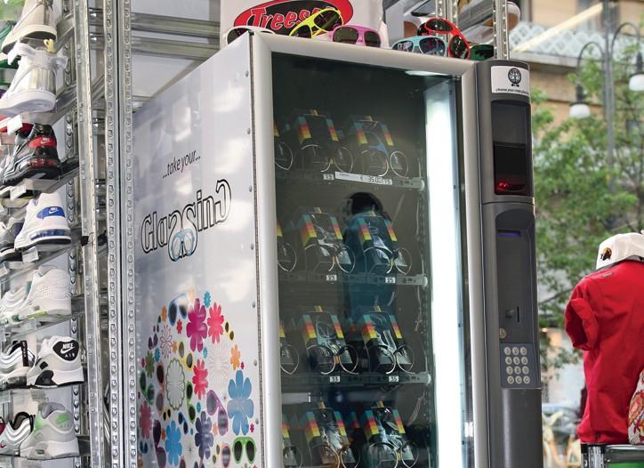 Glassing sunglass vending machines.