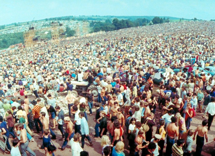 The crowd at the Woodstock festival in 1969.