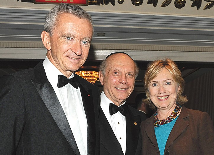 Bernard Arnault, Rabbi Arthur Schneier and Hillary Rodham Clinton.