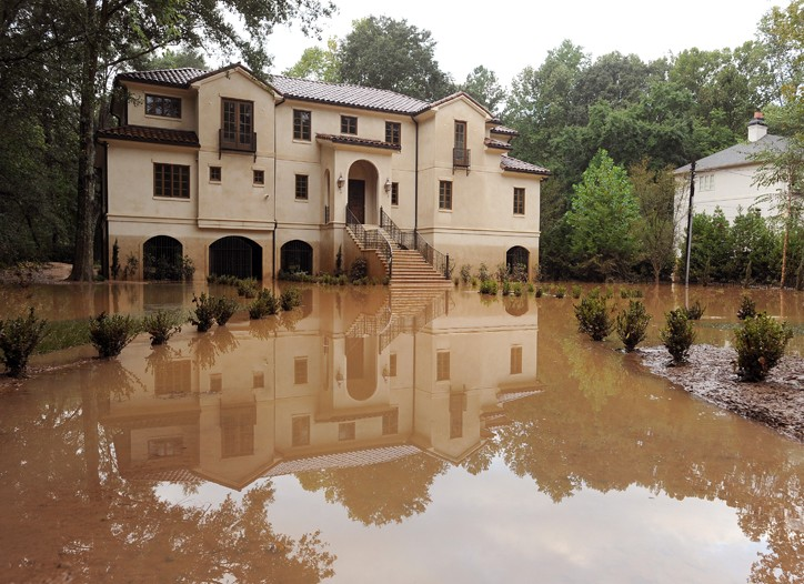 A home surrounded by flood waters in Atlanta's Buckhead section.