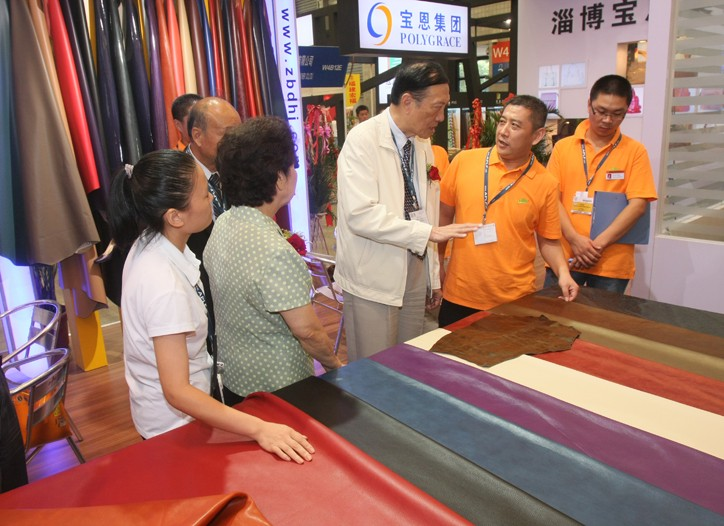 Shopping for leather at the China Leather fair.