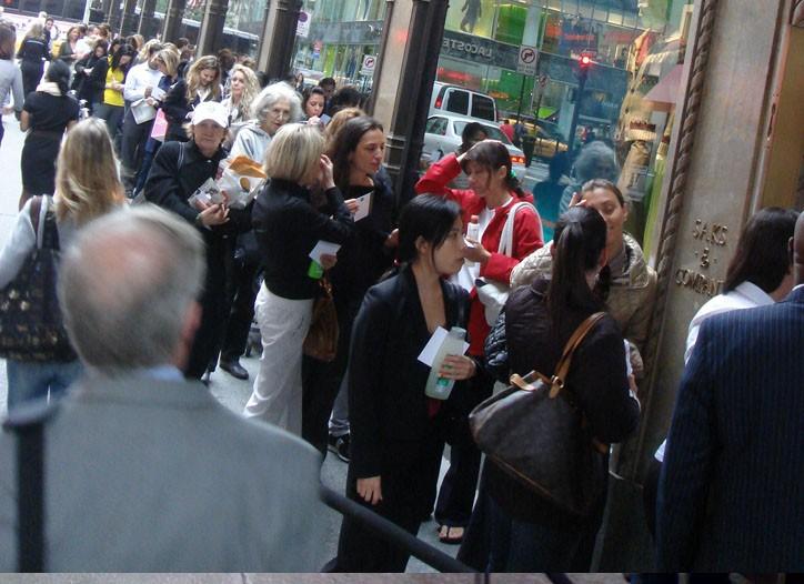 The scene outside Saks Fifth Avenue Thursday.