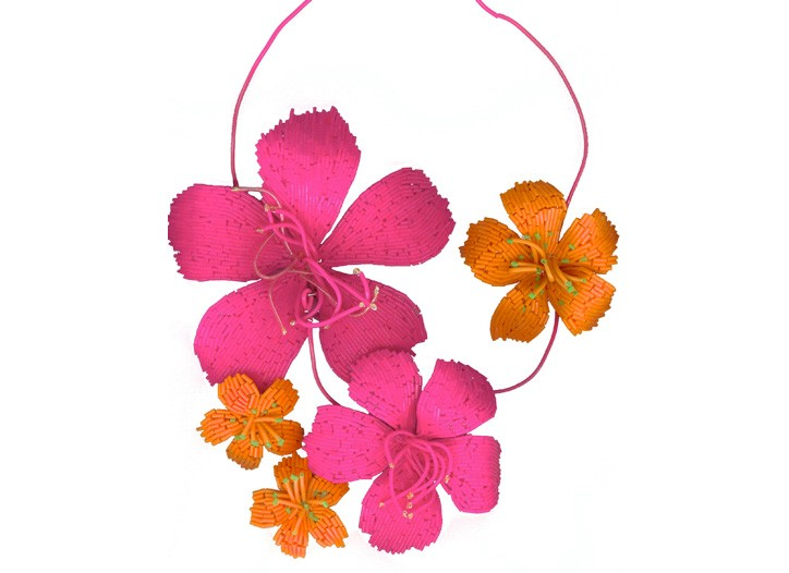 A floral necklace by Marianne Batlle.