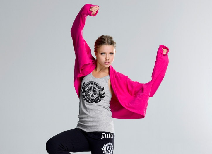 A look from Juicy Couture's new yoga line, Down Dog Couture.