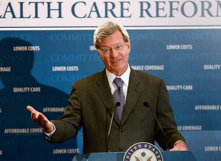 Senate Finance Committee Chairman Max Baucus at a news conference on Capitol Hill Wednesday.
