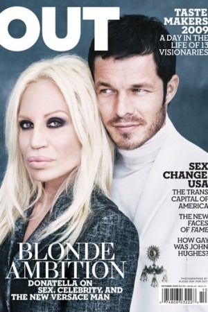 Donatella Versace on the cover of Out.