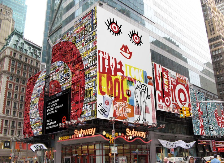 Target's Time Square campaign: a nod to local color and recycling.