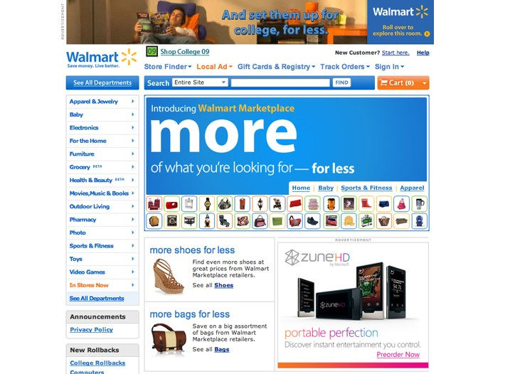 Wal-Mart Marketplace is bringing an additional million items to the retailer's Web site.