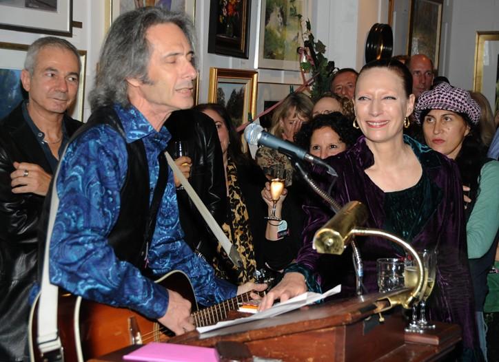 Lenny Kaye and Sarah Kapp toast Abbijane.