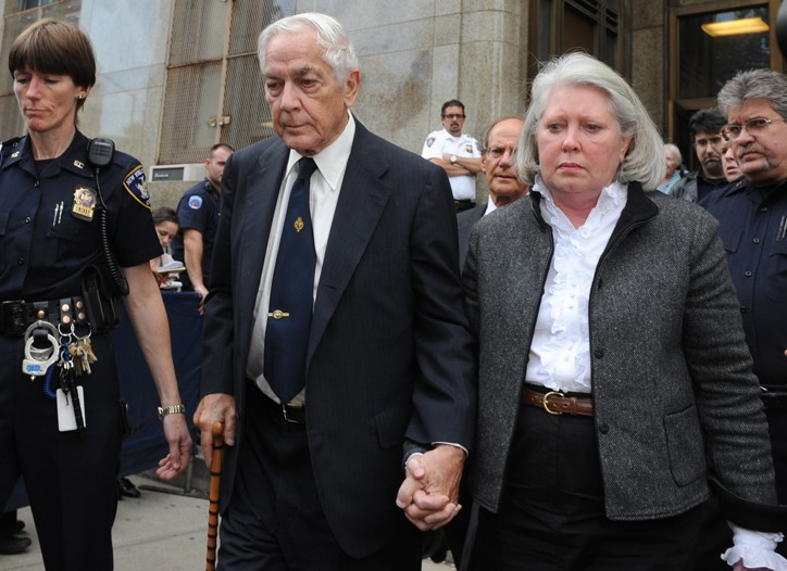 Anthony Marshall exits Manhattan State Supreme Court with wife Charlene,Thursday, Oct. 8, 2009, in New York.