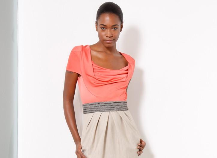 A knit jersey and lightweight wool dress.