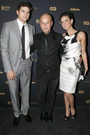 Ashton Kutcher, Italo Zucchelli and Demi Moore at the GQ Gentlemen's Ball Tuesday night.