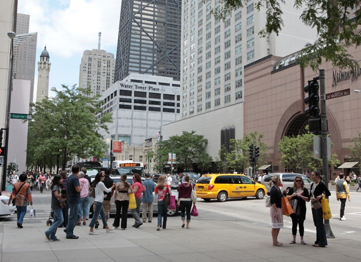Upscale stores such as Neiman Marcus are still a fixture on Michigan Avenue.