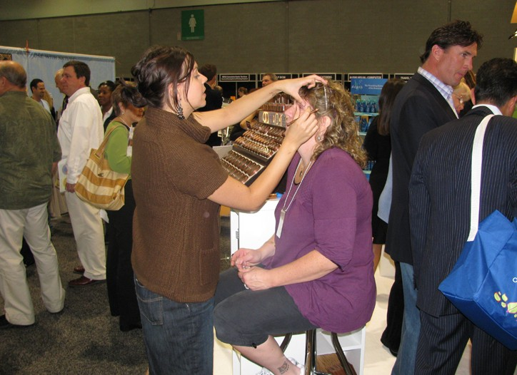 Makeup application during the Expo.