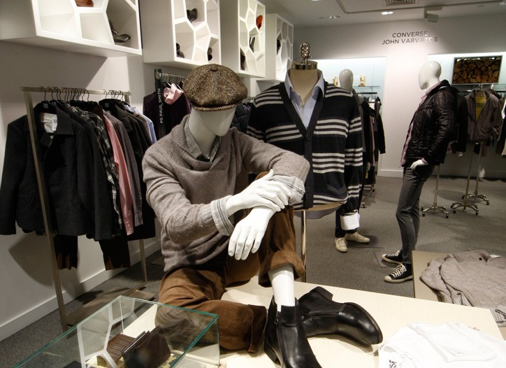 Saks new men's contemporary department has a vintage feel.