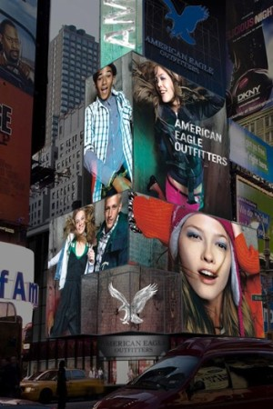 A rendering of American Eagle's LED sign.
