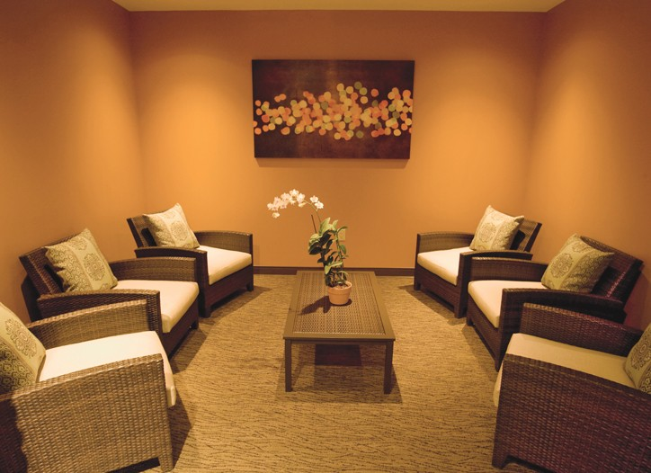 A spa relaxation room at Aveda Institute in Dallas.