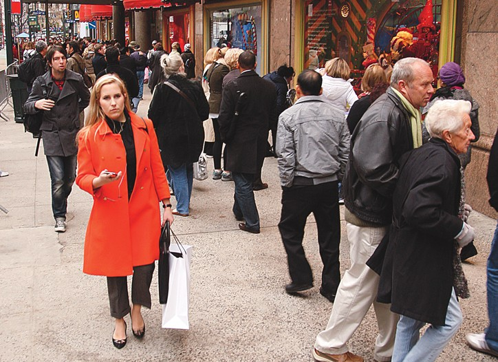 Pre-Black Friday shoppers outside Macy's at Herald Square.