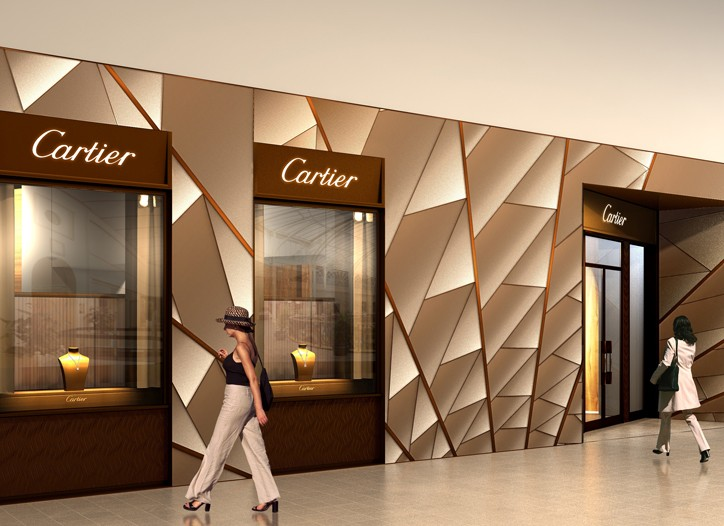 A rendering of Cartier's boutique at Crystals.